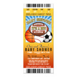 """Sports Theme Party Baby Shower 4"""" X 9.25"""" Invitation Card"""