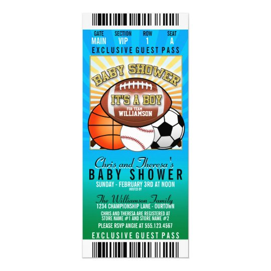 sports theme party baby shower invitation zazzle com