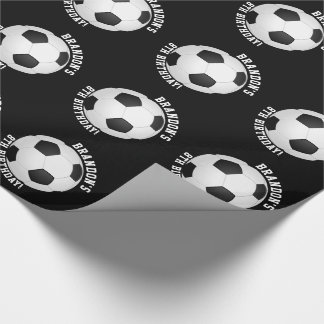 Sports Theme   Soccer Birthday Personalized Name Wrapping Paper