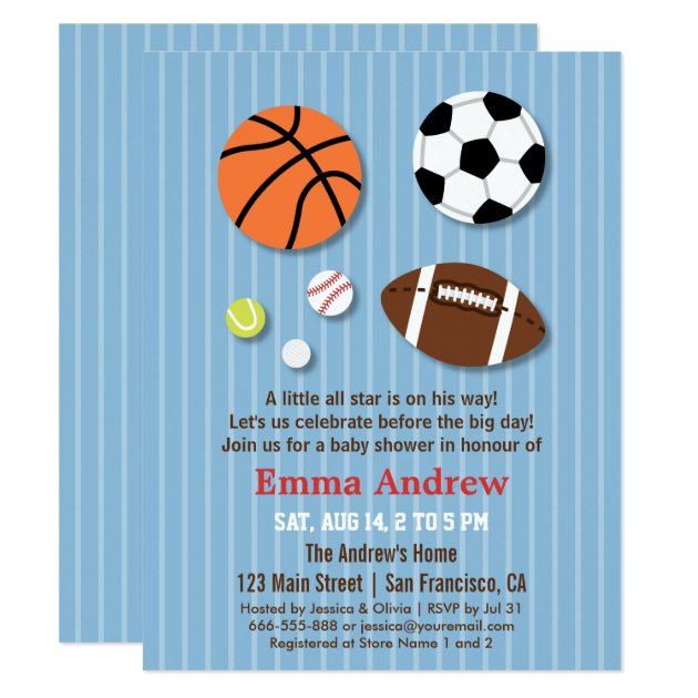 sports themed baby shower invitations  zazzle, Baby shower invitations
