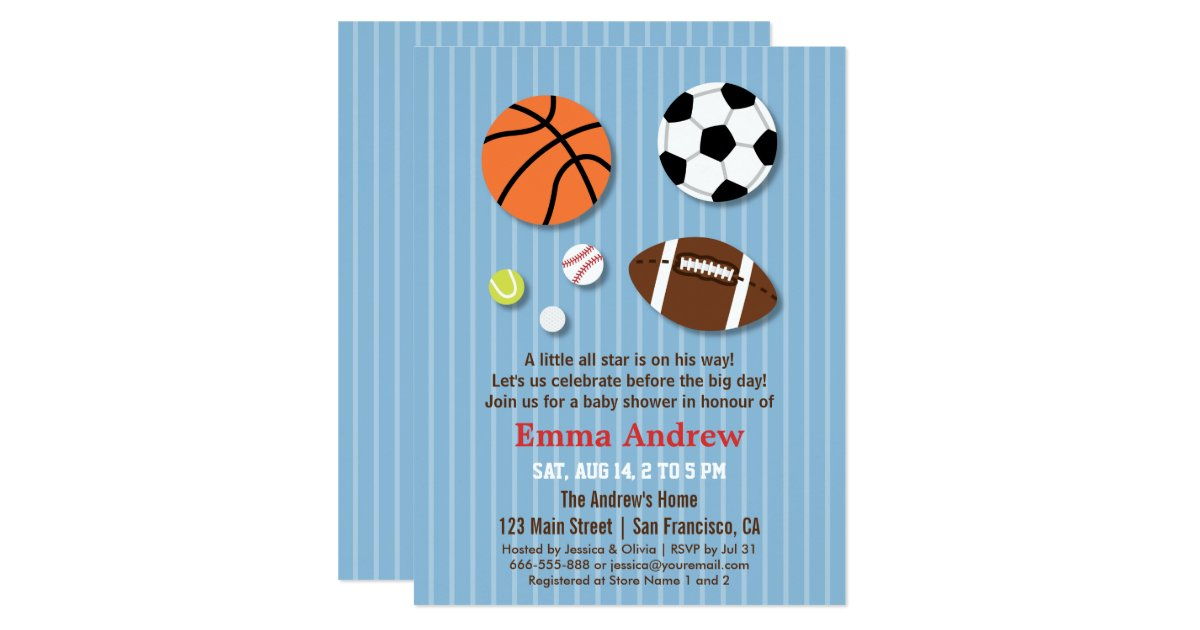 sports themed baby shower invitations zazzle
