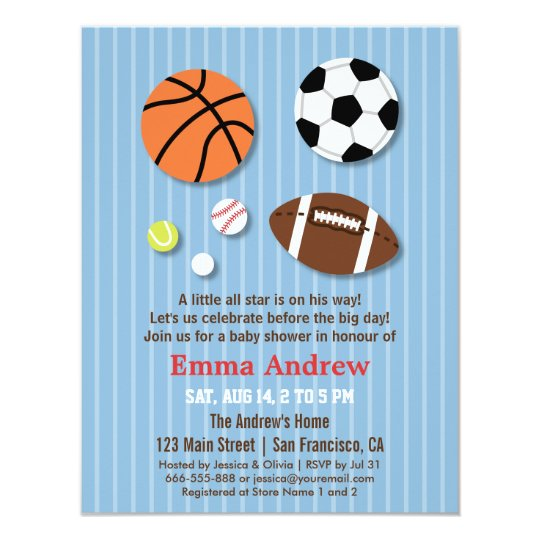 sports themed baby shower invitations | zazzle, Baby shower invitations