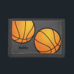 """Sports Themed Gray Boys Custom Basketball Wallet<br><div class=""""desc"""">Basketballs on dark gray,  wallet for boys who like basketball.  Add a name or initials to the bottom left corner.  Choose any style and color trim.</div>"""