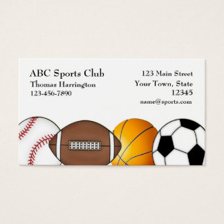 Sports Themed, White Business Card