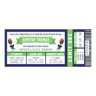 Sports Ticket Baby Shower Invitation, Blue, Green Card