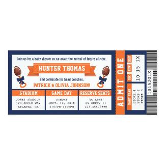 Sports Ticket Baby Shower Invitation, Blue, Orange Card