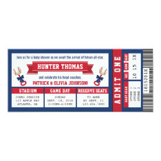 Sports Ticket Baby Shower Invitation, Blue, Red Card at Zazzle