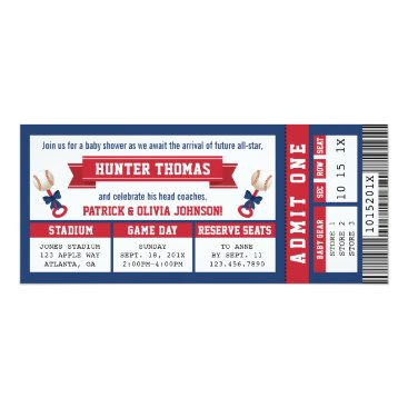 Toddler & Baby themed Sports Ticket Baby Shower Invitation, Blue, Red Card