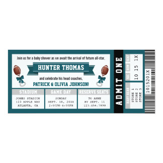 Sports Ticket Baby Shower Invitation, Green, Gray Card