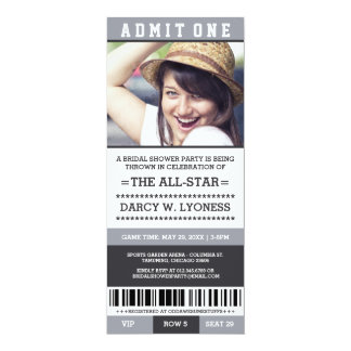 Sports Ticket Bridal Shower Party Invites