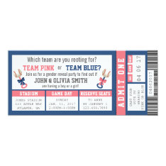 Sports Ticket Gender Reveal Invitation, Baseball Card at Zazzle