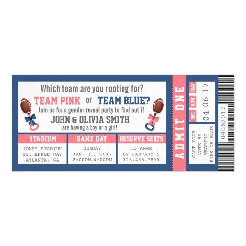 Sports Ticket Gender Reveal Invitation, Football Invitation