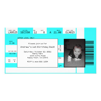 Sports Ticket Invite CHOOSE YOUR BACKGROUND COLOR Photo Card
