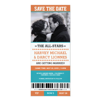 Sports Ticket Save the Date 4x9.25 Paper Invitation Card
