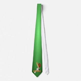 Sports Tie - Baseball Design #2 Green Background