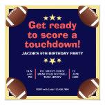 Hand shaped Sports Typography   Football Birthday Party Invite