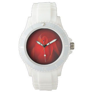 Sports Watch with Red Rose Design