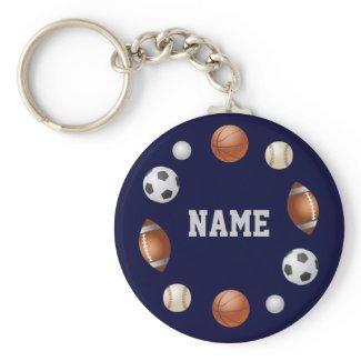 Sports World Personalized Keychain - Blue keychain
