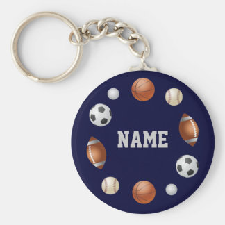 Sports World Personalized Keychain - Blue