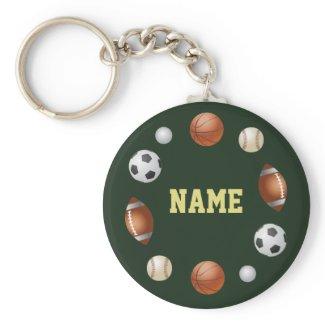 Sports World Personalized Keychain - Green keychain