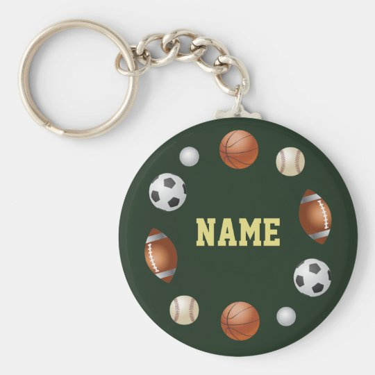 Sports World Personalized Keychain - Green