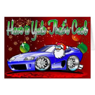 Sportscar Cartoon Santa Christmas Card