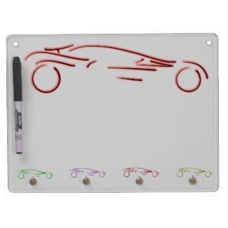 Sportscar estilizado - diseño auto de neón rojo qu tablero blanco