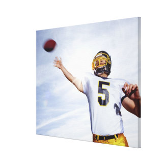 sportsman playing with rugby ball canvas print