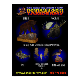 SPORTSMAN'S CHOICE TAXIDERMY POSTER