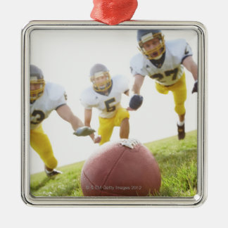 sportsmen playing with a rugby ball metal ornament