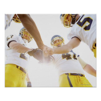 sportsmen standing with hands together print