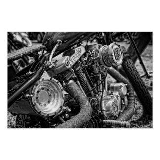 Sportster Chop in B&W HDR Posters