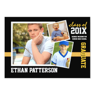 "Sporty 3 Photo Graduation Announcement Black Gold 5"" X 7"" Invitation Card"