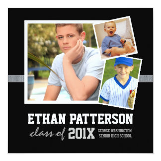 "Sporty 3 Photo Graduation Announcement Black White 5.25"" Square Invitation Card"
