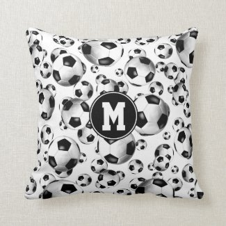 sporty 3D look traditional soccer balls pattern Throw Pillow