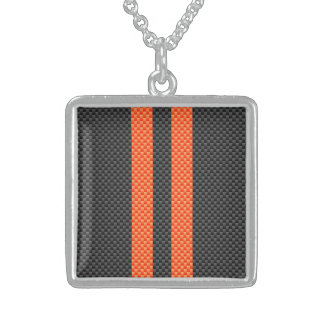 Sporty Accent Orange Stripes Carbon Style Print Sterling Silver Necklace