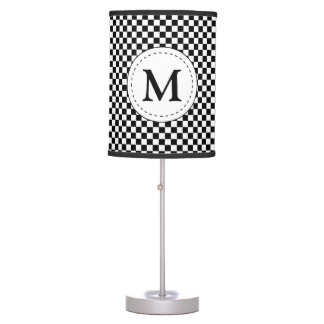 Sporty Auto Racing Chequered Flag Checkered Flag Table Lamps