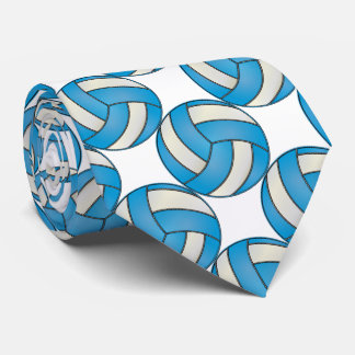 Sporty Baby Blue and White Volleyball Neck Tie
