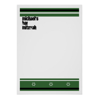 Sporty Bar Mitzvah Sign In Board - Green Black Posters