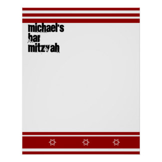 Sporty Bar Mitzvah Sign In Board Red White Poster
