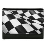 Sporty Black White Chequered Flag Checkered Flag Women's Wallet