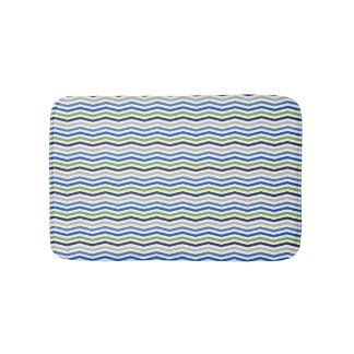 Sporty Blue and Green Cheron Preppy Boy Pattern Bathroom Mat
