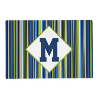 Sporty Blue and Green Stripes Laminated Placemats