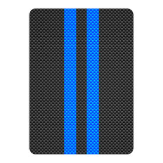 Sporty Blue Carbon Fiber Style Racing Stripes Card