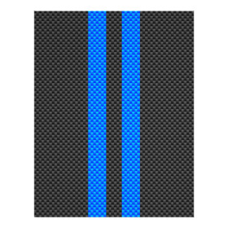 Sporty Blue Carbon Fiber Style Racing Stripes Flyer