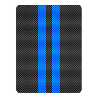 Sporty Blue Carbon Fiber Style Racing Stripes 6.5x8.75 Paper Invitation Card