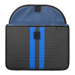 Sporty Blue Carbon Fiber Style Racing Stripes Sleeves For MacBooks
