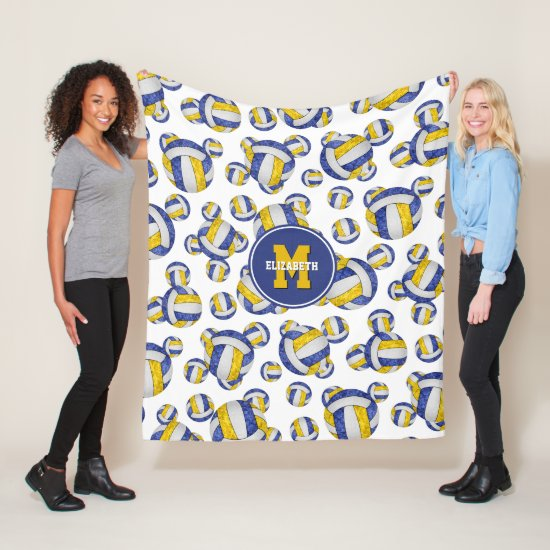 sporty blue gold team colors girly volleyball fleece blanket