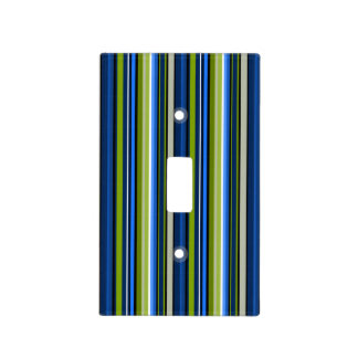 Sporty Blue Green Stripe Lightswitch cover
