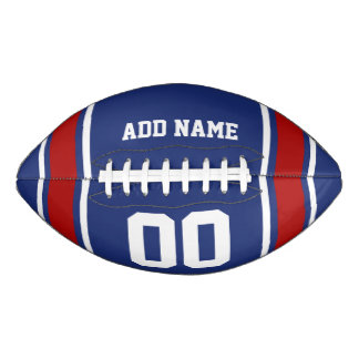 Sporty Blue|Red Striped Personalized Football